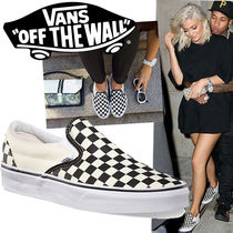 VANS SLIP ON Gingham Round Toe Casual Style Street Style Bi-color