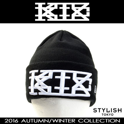 16aw black wide script logo embroidered knit cap