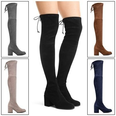 Stretch knee high boots