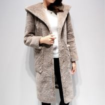 Casual Style Faux Fur Plain Medium Midi Duffle Coats