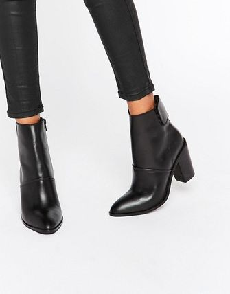 ASOS Leather Block Heels Ankle & Booties Boots