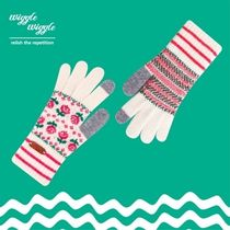 wiggle wiggle Flower Patterns Casual Style Wool Smartphone Use Gloves