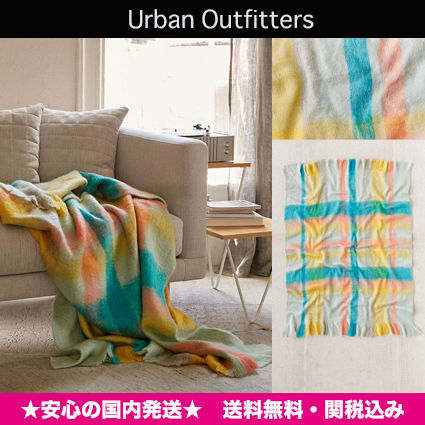 Urban Outfitters colorful check mohair blanket