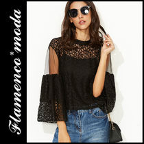 Short Lace Elegant Style Puff Sleeves Cropped