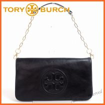 Tory Burch Plain Leather Party Style Clutches