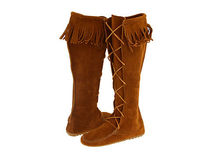 Minnetonka Rubber Sole Lace-up Suede Plain Over-the-Knee Boots