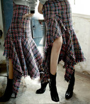 Other Check Patterns Maxi Long Elegant Style Maxi Skirts