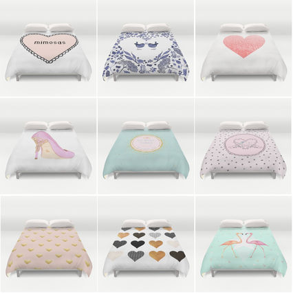 Pattern size Quilt cover Heart pastel series