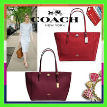 Coach A4 Plain Leather Totes