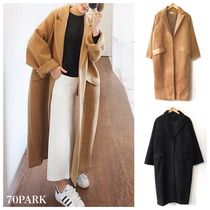 Casual Style Plain Long Oversized Chester Coats