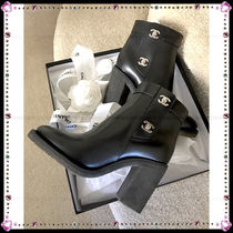 CHANEL ICON Round Toe Plain Leather Block Heels High Heel Boots