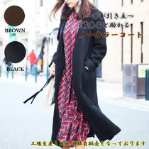Casual Style Wool Street Style Plain Long Formal Style