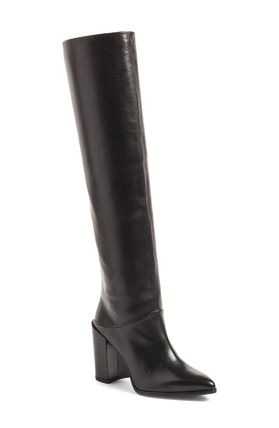 Only Scrunchy Leather Knee Boots