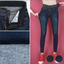 Denim Street Style Plain Long Skinny Pants