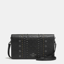 Coach Bandana Rivets Foldover Shoulder Clutch Bag (Black/White)