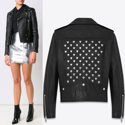Saint Laurent 16-17 AW WSL 986 HEART STUDDED MOTORCYCLE JACKET