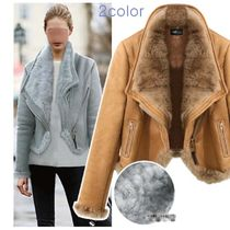 Faux Fur Studded Medium Fur Leather Jackets