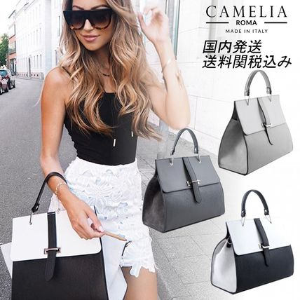 2WAY Bi-color Leather Handbags
