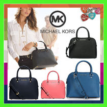 Michael Kors CINDY Casual Style Saffiano 2WAY Plain Handbags
