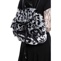 KILL STAR Leopard Patterns Casual Style Faux Fur Street Style Purses