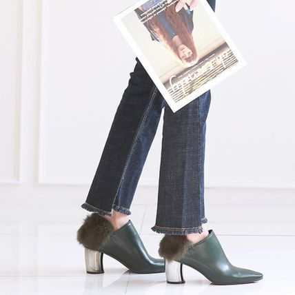 Ankle & Booties Casual Style Faux Fur Plain Khaki Chunky Heels 8