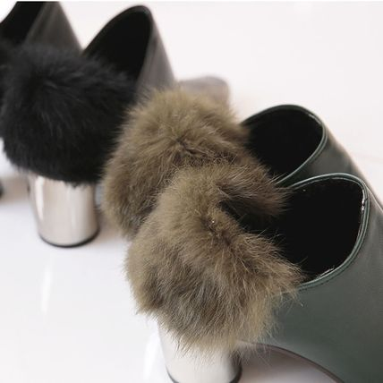 Ankle & Booties Casual Style Faux Fur Plain Khaki Chunky Heels 9