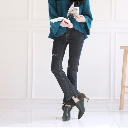 Ankle & Booties Casual Style Faux Fur Plain Khaki Chunky Heels 10