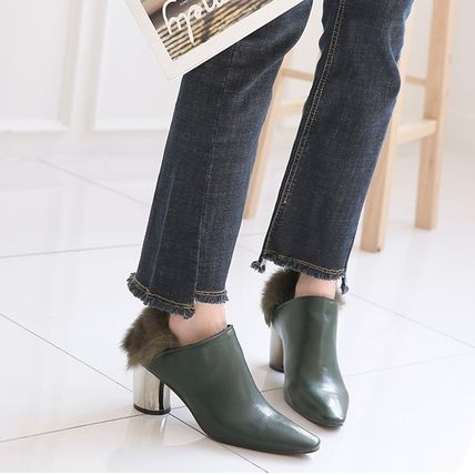 Ankle & Booties Casual Style Faux Fur Plain Khaki Chunky Heels 11