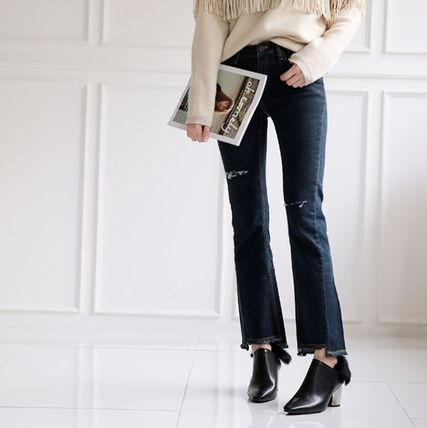 Ankle & Booties Casual Style Faux Fur Plain Khaki Chunky Heels 15