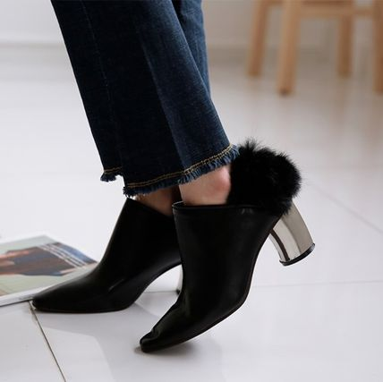 Ankle & Booties Casual Style Faux Fur Plain Khaki Chunky Heels 16