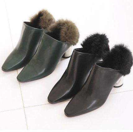 Ankle & Booties Casual Style Faux Fur Plain Khaki Chunky Heels 2