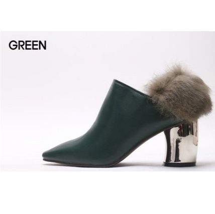 Ankle & Booties Casual Style Faux Fur Plain Khaki Chunky Heels 5