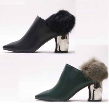 Ankle & Booties Casual Style Faux Fur Plain Khaki Chunky Heels 7