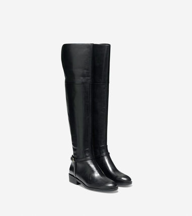 Cole Haan Plain Leather Over-the-Knee Boots