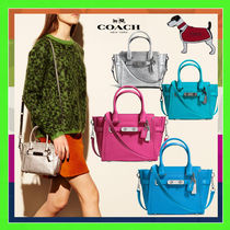 Coach SWAGGER Leather 21 Carryall Handbag (Turquoise/Pink/Blue)