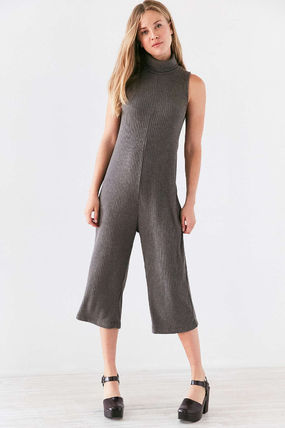 Dungarees Casual Style Sleeveless Street Style Plain Medium