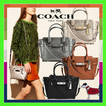 Coach Swagger 21 Carryall Handbag (Platinum/Gunmetal/Saddle/Black)