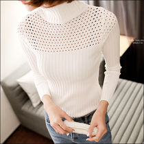 Street Style Long Sleeves Plain Medium Turtlenecks
