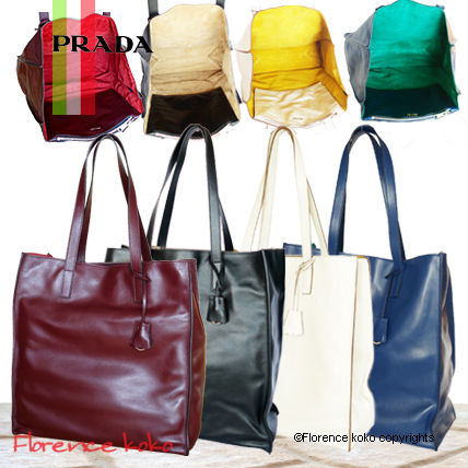 Casual Style Calfskin A4 Bi-color Totes