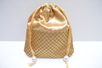 Gingham Nylon Pouches & Cosmetic Bags
