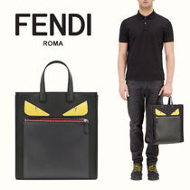 FENDI BAG BUGS Unisex A4 Plain Leather Totes