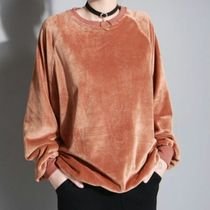 Crew Neck Casual Style Long Sleeves Plain Tops