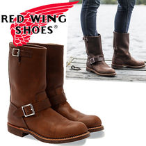 RED WING Plain Toe Plain Leather Engineer Boots
