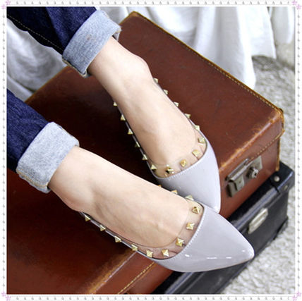 Square metal studs FLAT shoes 982