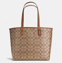 Coach SIGNATURE Monogram A4 2WAY Plain PVC Clothing Office Style Totes