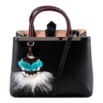 FENDI 2Jours Petite Shopper Bag With Green Fur Bag Bug / Black