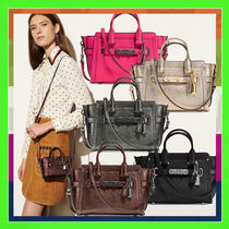 Coach SWAGGER 2WAY Plain Leather Elegant Style Shoulder Bags