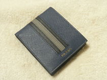 PRADA SAFFIANO LUX Stripes Unisex Saffiano Folding Wallets