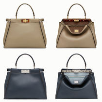 FENDI PEEKABOO A4 Plain Leather Elegant Style Handbags