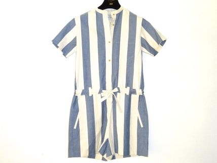Short Dungarees Stripes Casual Style Cotton Short Sleeves